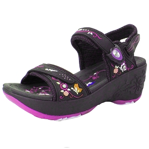 Wedge Snap Lock Sandal: 8698 Black Fuchsia (Size: 7.5/8)