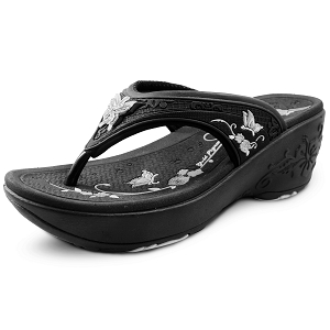 Wedge Thong: 9079 Black (Size: Women 4-8)