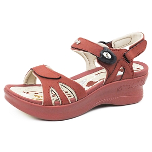 Ladies' Platform Snap Lock Sandal: 5990 Burgundy (Size: 4-8)