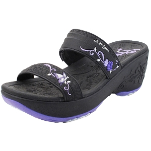 Ladies' Platform Slide: 8531 Black Purple (Size 4-8)