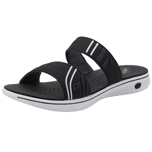 Womens EVA Slide: 8589 Black White (Size: Women 4.5-7)