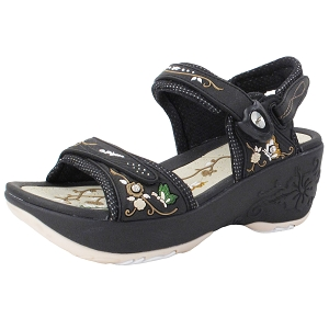Ladies' Platform Snap Lock Sandal: 8698 -8198 Black Beige (Size: 4-8)