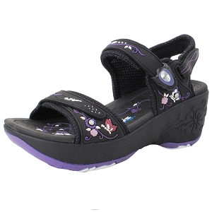 Ladies' Platform Snap Lock Sandal: 8698 -8198 Black Purple (Size: 4-8)